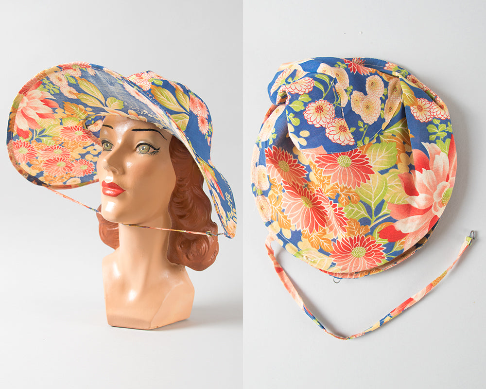 SOLD || 1920s Crushable / Packable Chinese Floral Cotton Sun Hat | medium/large