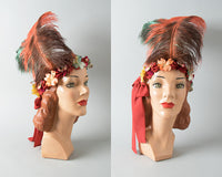 ♦ SOLD ♦ 1920s Style Handmade Ostrich Feather Velvet Headdress
