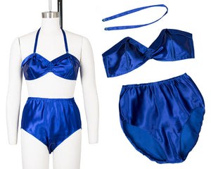 1940s Cobalt Satin Bra + Panties Set