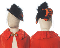 1940s Velvet & Feather Pom Pom Hat with Veil