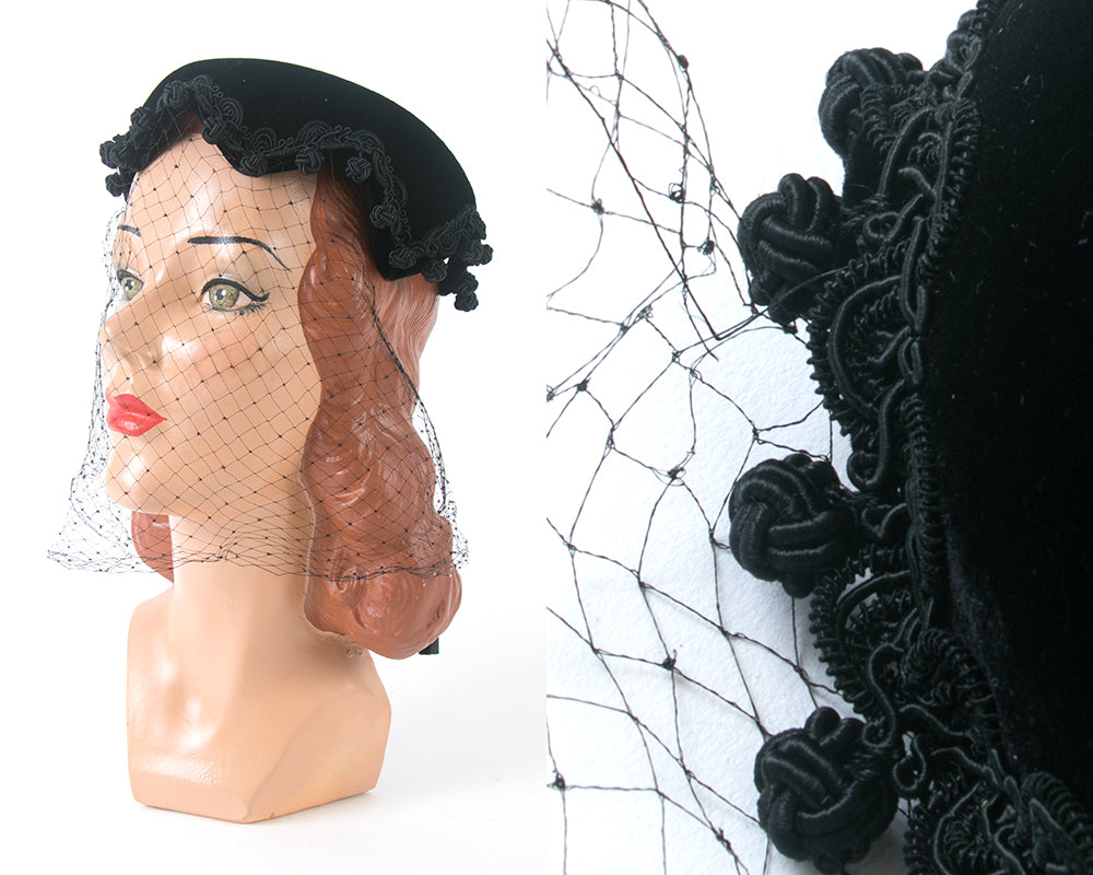 1950s Black Velvet Pom Pom Trim Hat with Veil