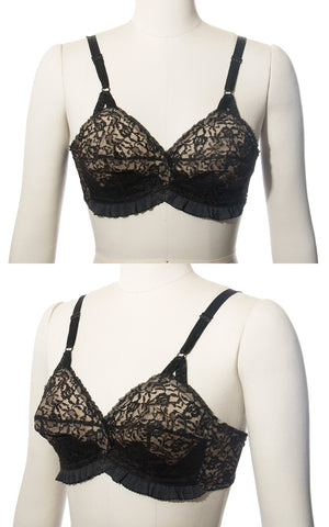 SOLD || 1950s Sheer Black Satin and Lace Wireless Bullet Bra | 32C