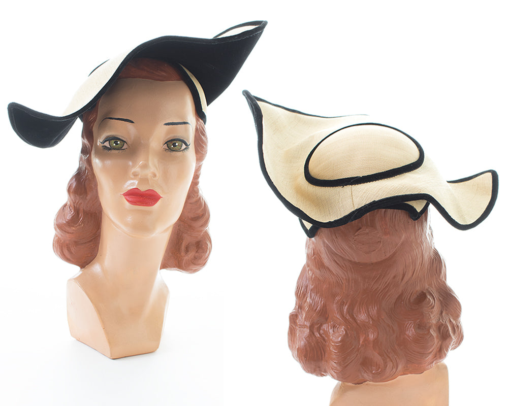 1950s Sculptural Structured Straw & Velvet Hat