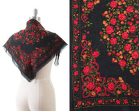 1970s Rose Printed Large Square Scarf