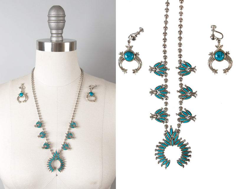 SOLD || 1970s Squash Blossom Faux Turquoise Silver Jewelry Set by Art
