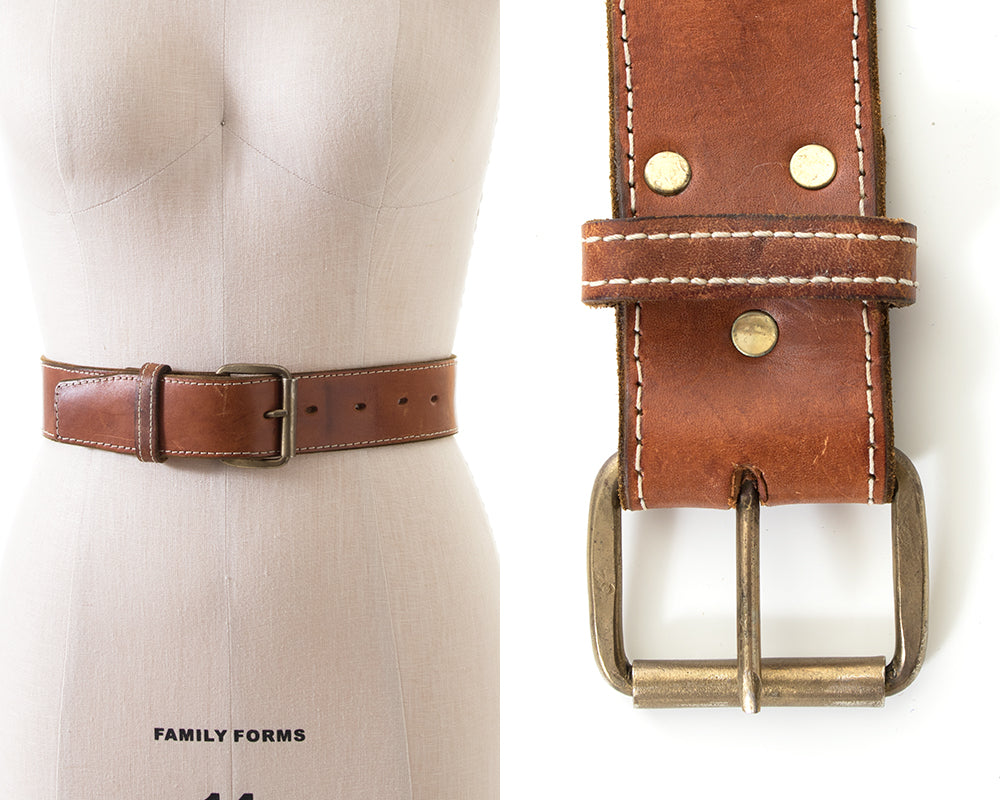 1970s Thick Leather Cinch Belt