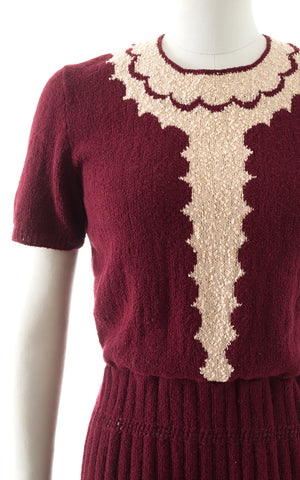 1950s Metallic Scalloped Knit Wool Sweater Dress BirthdayLifeVintage