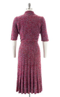 1940s Two Tone Flecked Knit Wool Dress