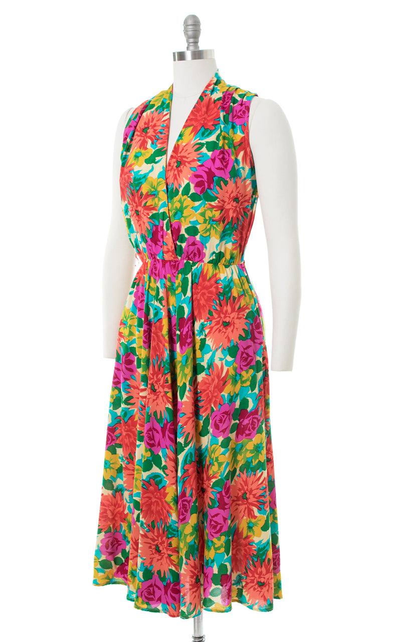 1990s Floral Rayon Fit and Flare Sundress