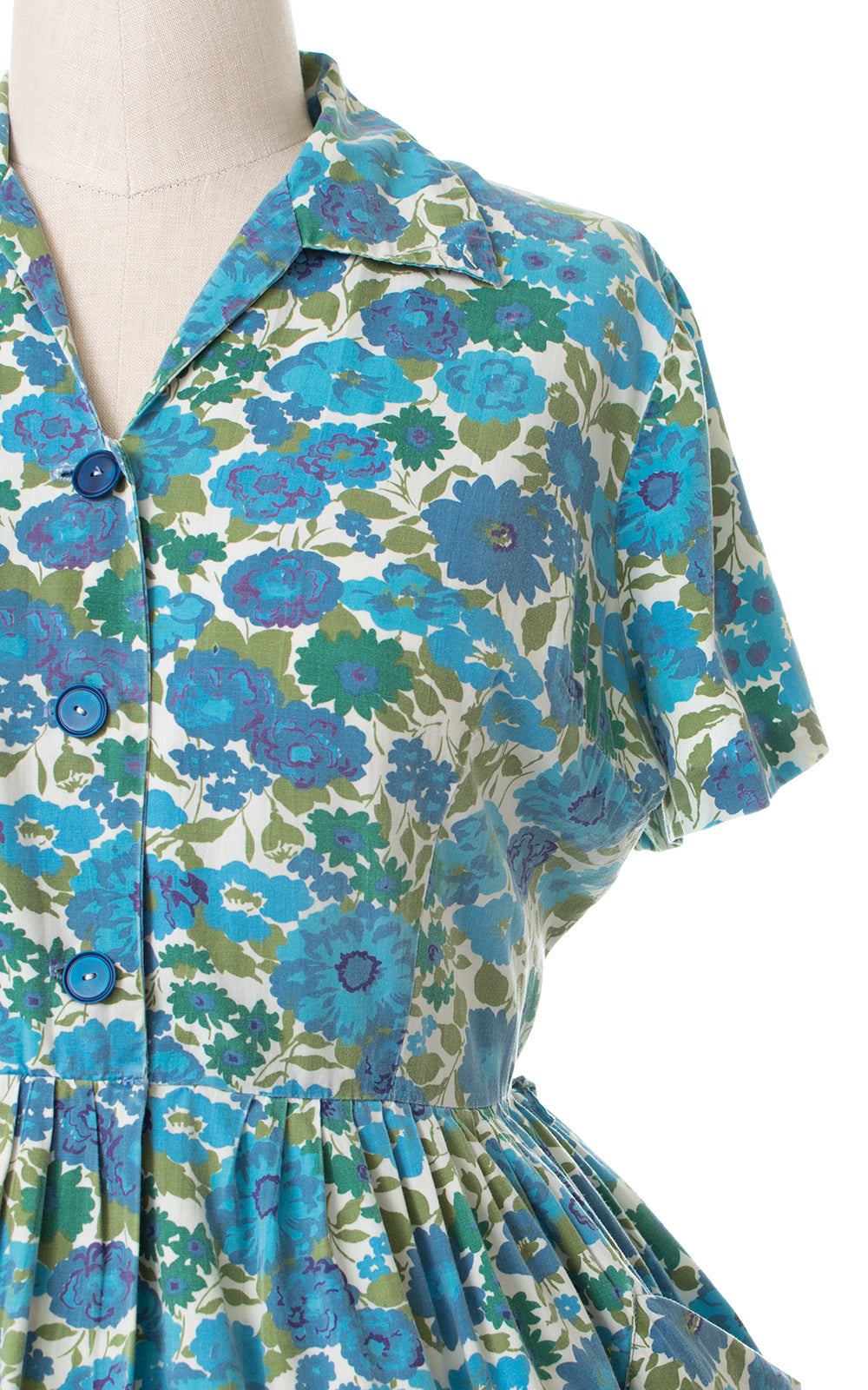 1950s Mode O'Day Floral Cotton Shirtwaist Dress