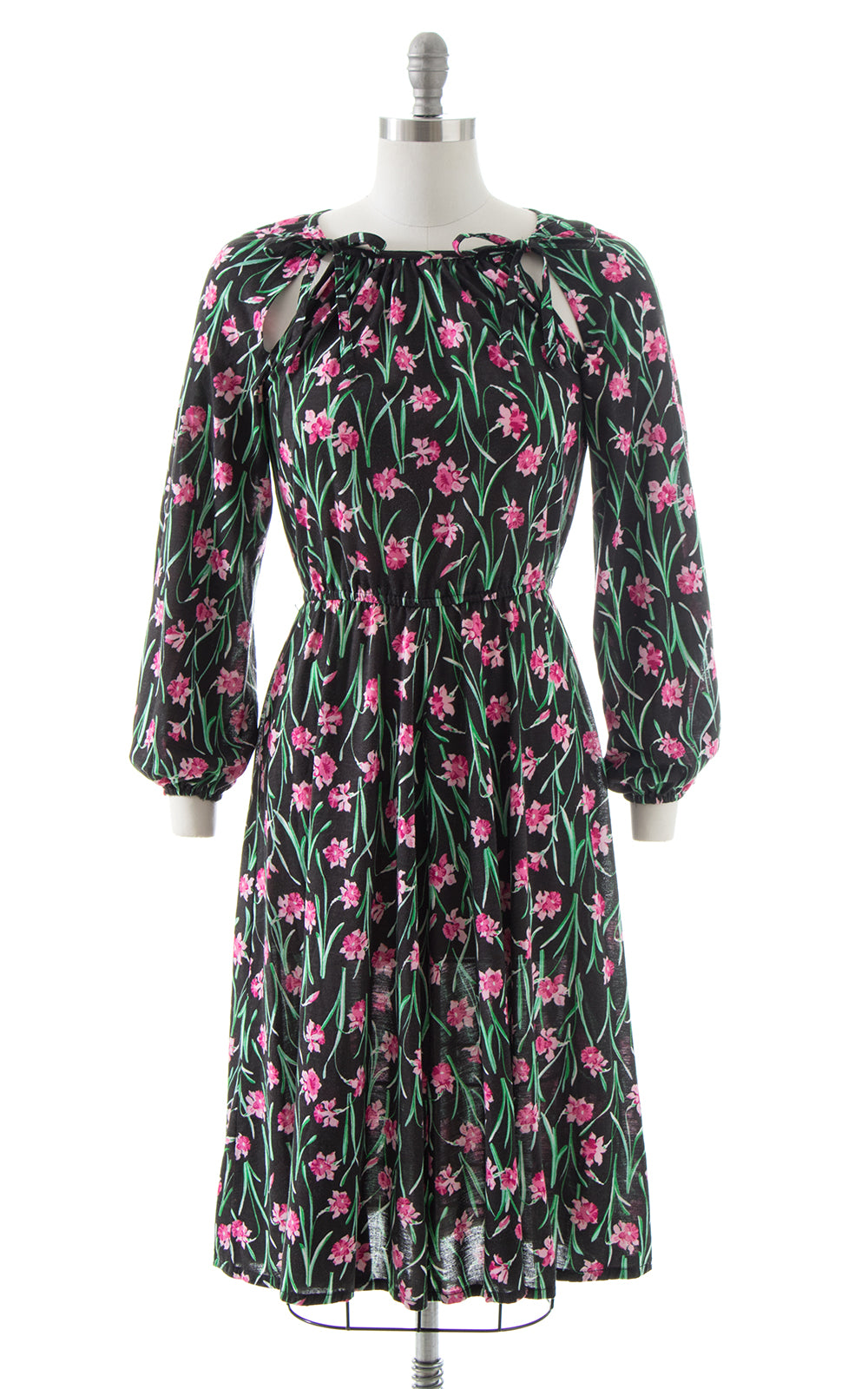 1970s Floral Jersey Dress