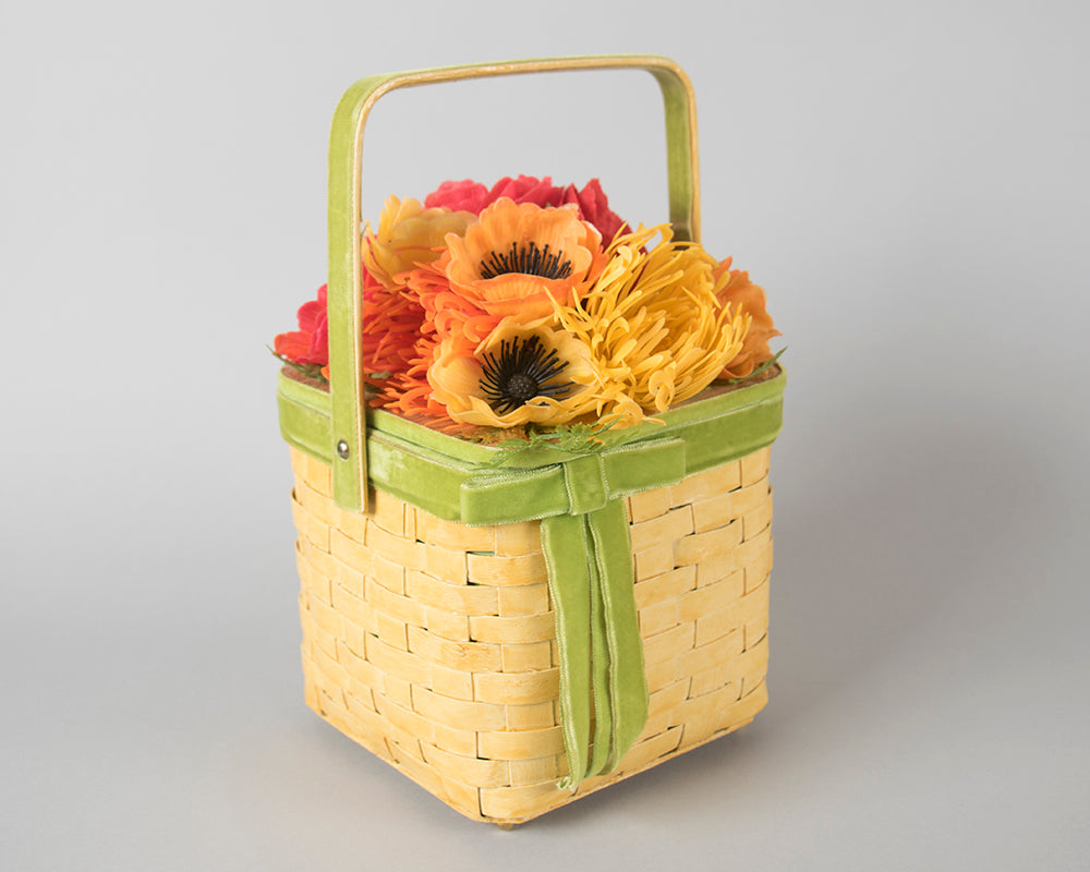 1960s Floral Wicker Basket Box Purse