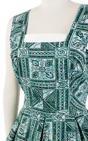 ♦ SOLD ♦ 1950s Batik Floral Green Cotton Sundress with Big Pockets | medium