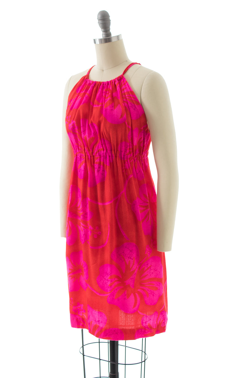 1970s Hawaiian Hibiscus Floral Pink Red Sundress BirthdayLifeVintage