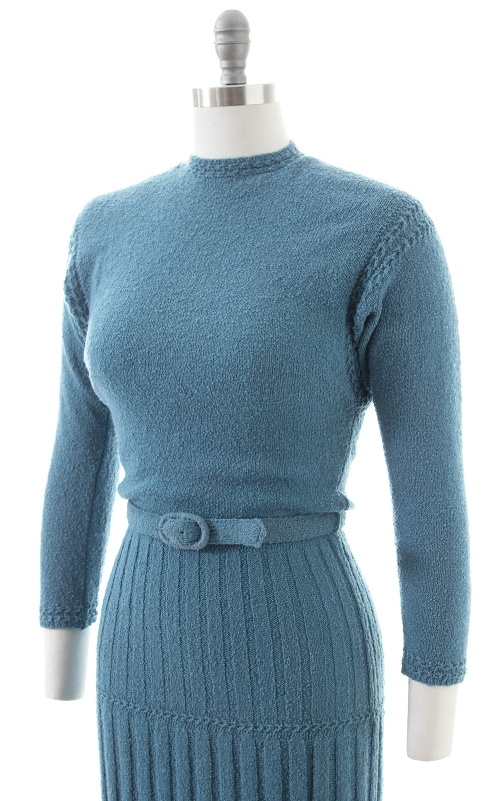1950s Lass o' Scotland Knit Wool Chenille Sweater Dress