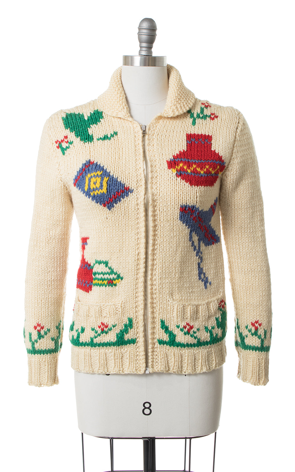 SOLD || 1950s Mexican Novelty Wool Cowichan Cardigan | small/medium