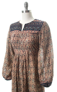1970s Kaiser Floral Paisley Cotton Bishop Sleeve Dress