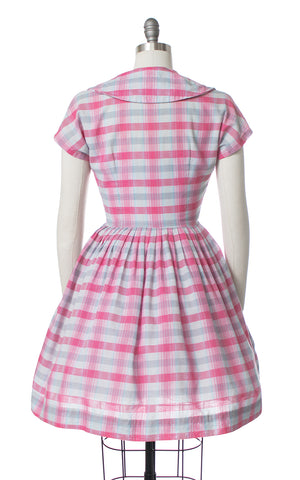 1950s Plaid Double Breasted Shirtwaist Dress
