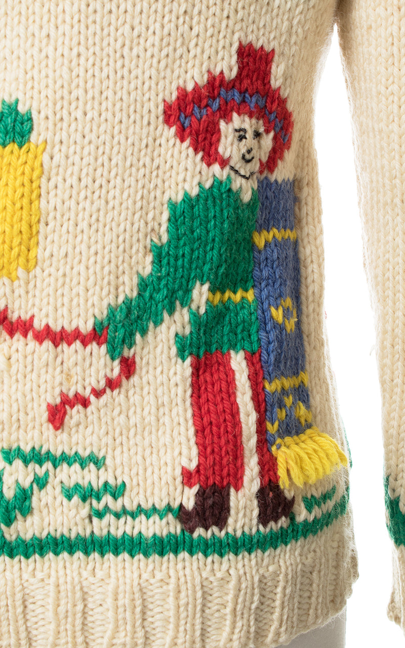 1950s Mexican Novelty Wool Cowichan Cardigan | small/medium