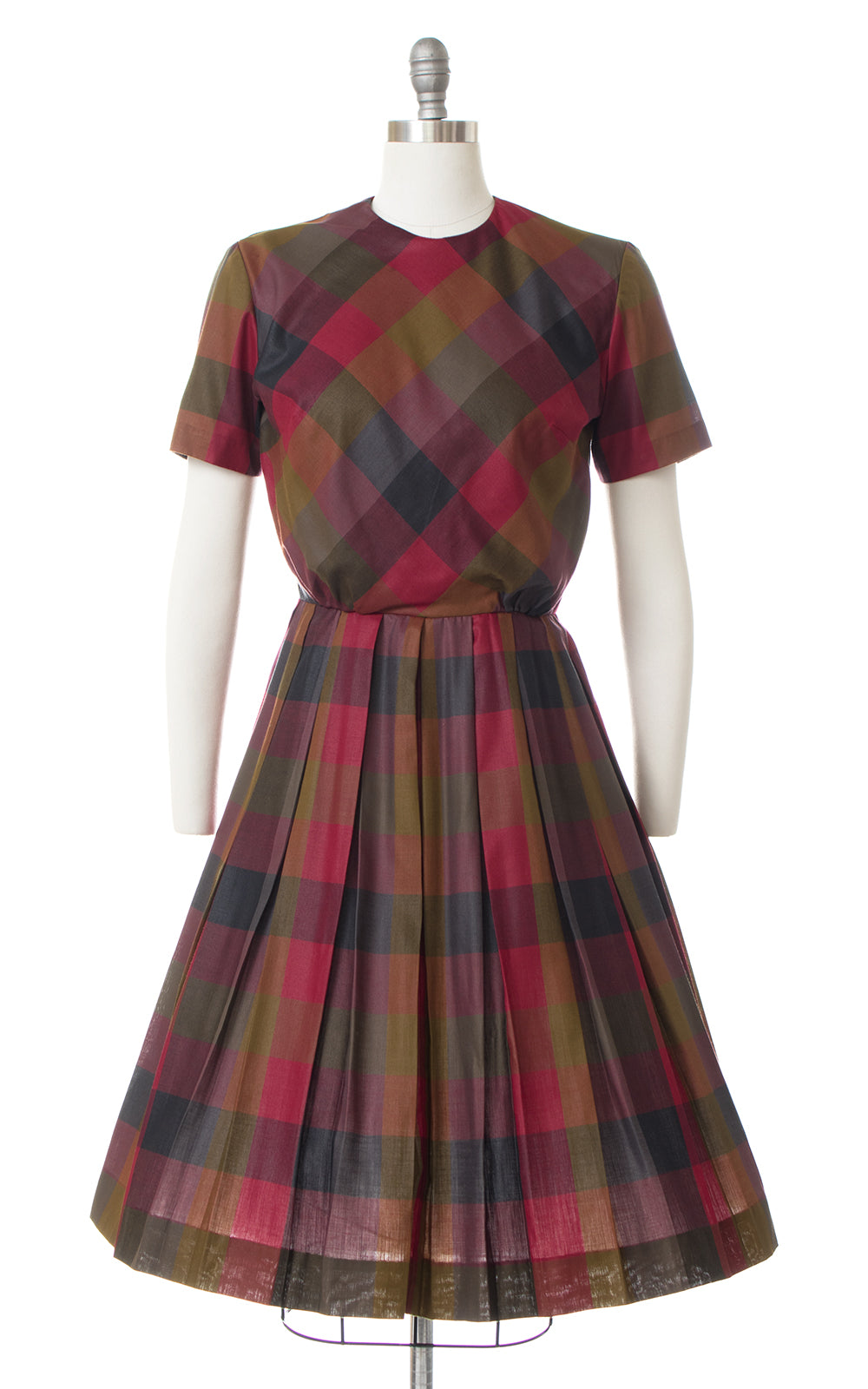 1950s Colorful Plaid Dress