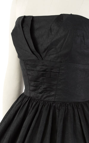 1950s Strapless Black Cotton Circle Skirt Sundress | small