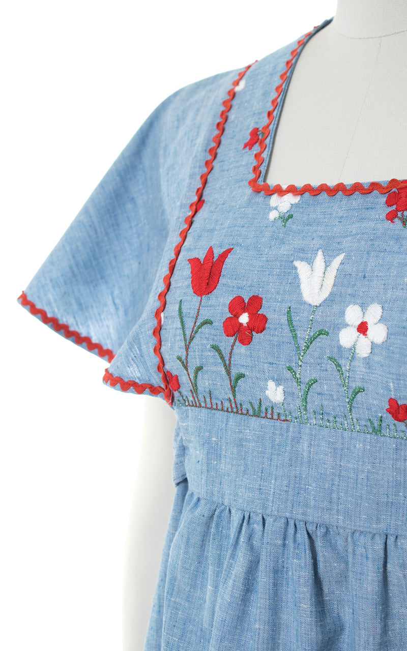 1970s Floral Embroidered Chambray Flutter Sleeve Maxi Dress