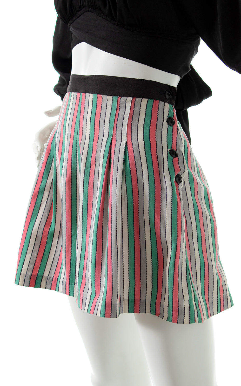 1940s Striped Side Button Shorts BirthdayLifeVintage