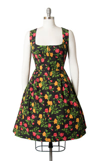 1960s Rose Print Black Cotton Dirndl Dress