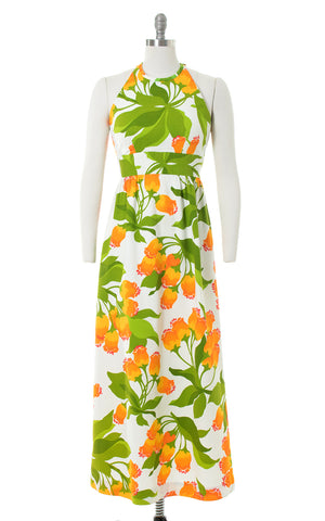 1970s Malia Hawaiian Floral Cotton Maxi Dress