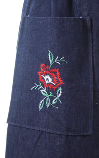 1970s Floral Embroidered Button Back Denim Skirt