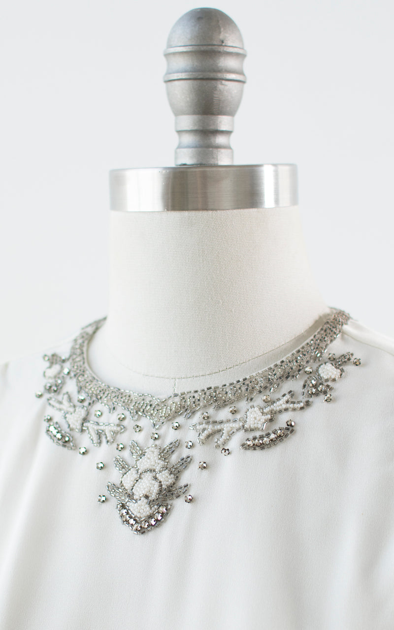 1940s 1950s Beaded Rhinestone White Rayon Blouse | medium