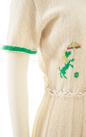 1950s Poodle Novelty Knit Wool Sweater Dress