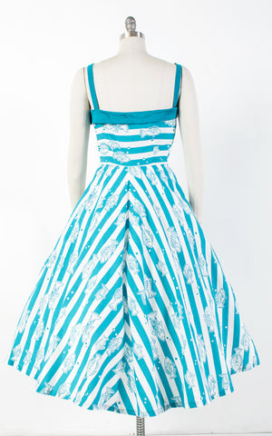 1950s Style Fish Novelty Print Striped Cotton Sundress with Huge Pockets | medium
