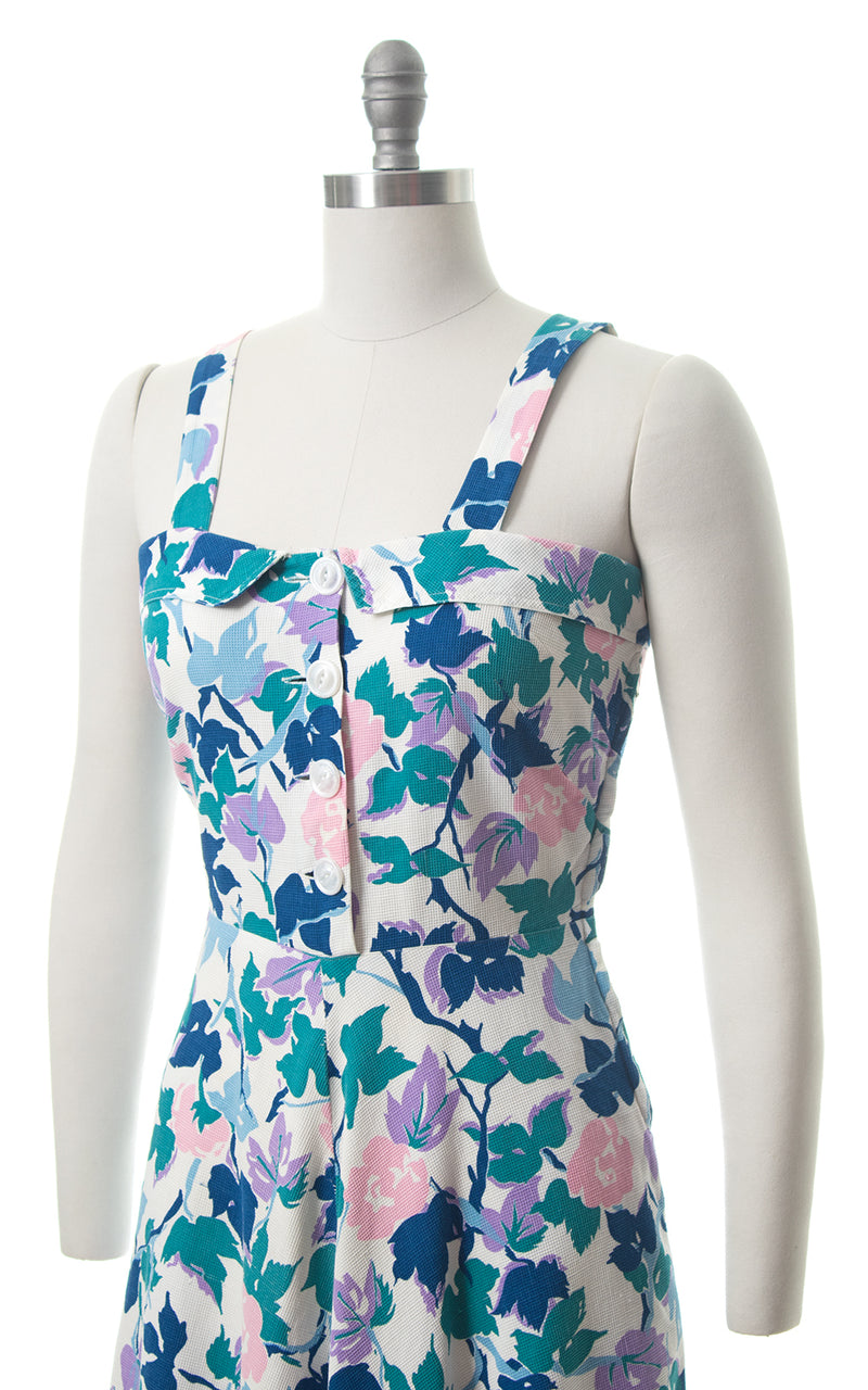 1940s Floral Cotton Piqué Shirtwaist Sundress