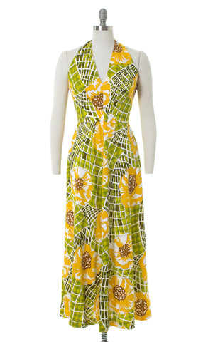 1970s Oversized Floral Halter Maxi Dress