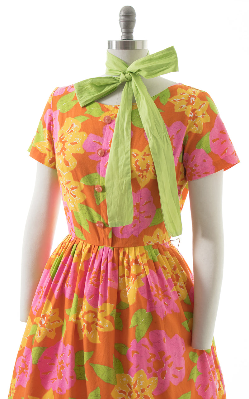 1950s Mode O' Day Lime Floral Cotton Dress