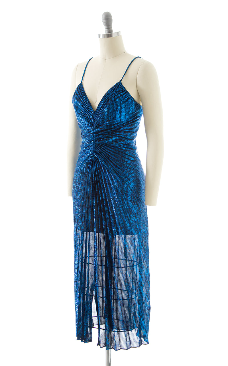 1980s Travilla Style Metallic Blue Party Dress BirthdayLifeVintage