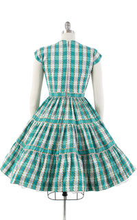 1950s Plaid Striped Circle Skirt Dress | small