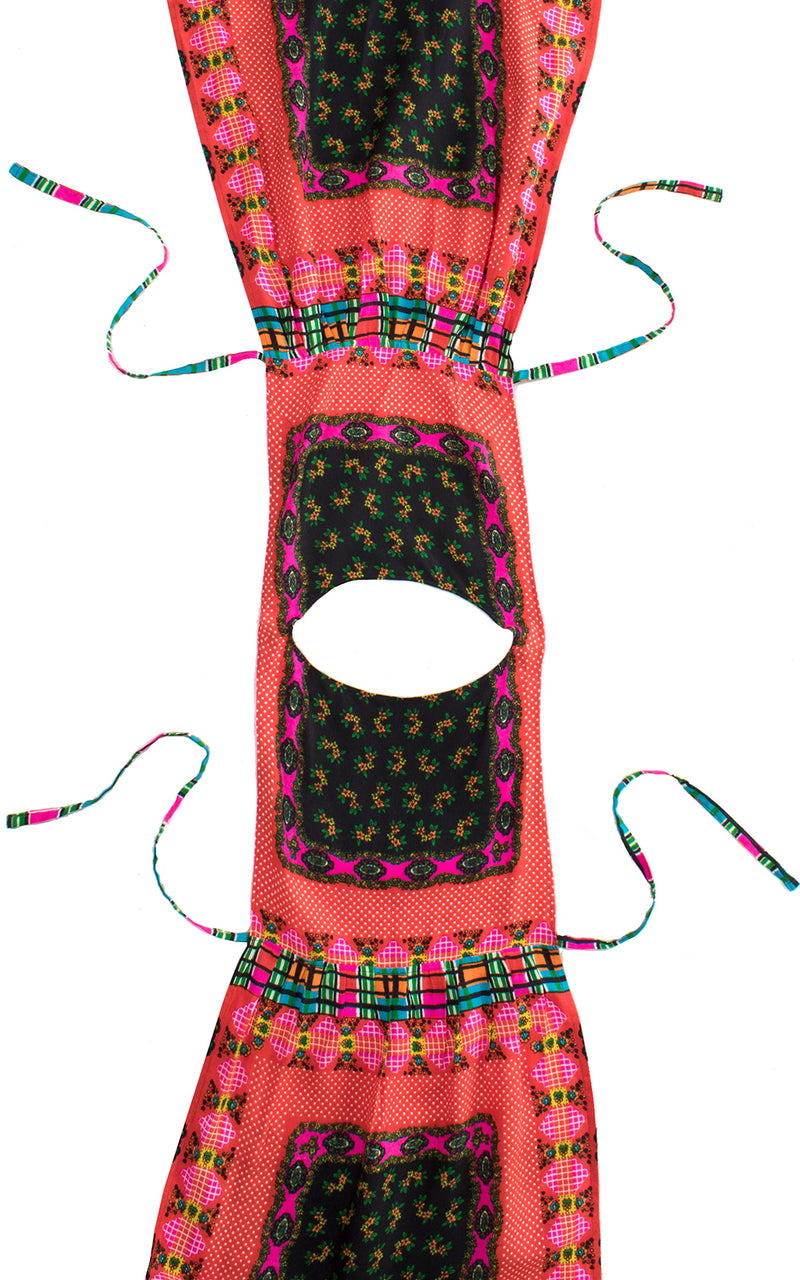 1960s Vibrant Printed Apron Tunic Dress