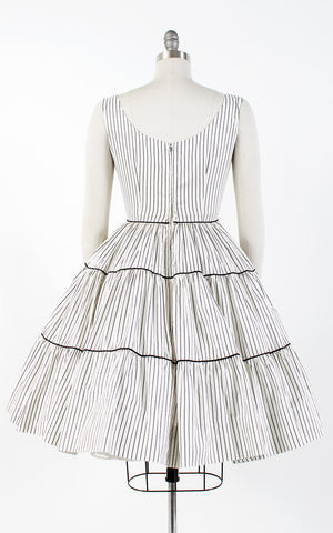 SOLD || 1950s Pinstriped Tiered Circle Skirt Cotton Sundress | small