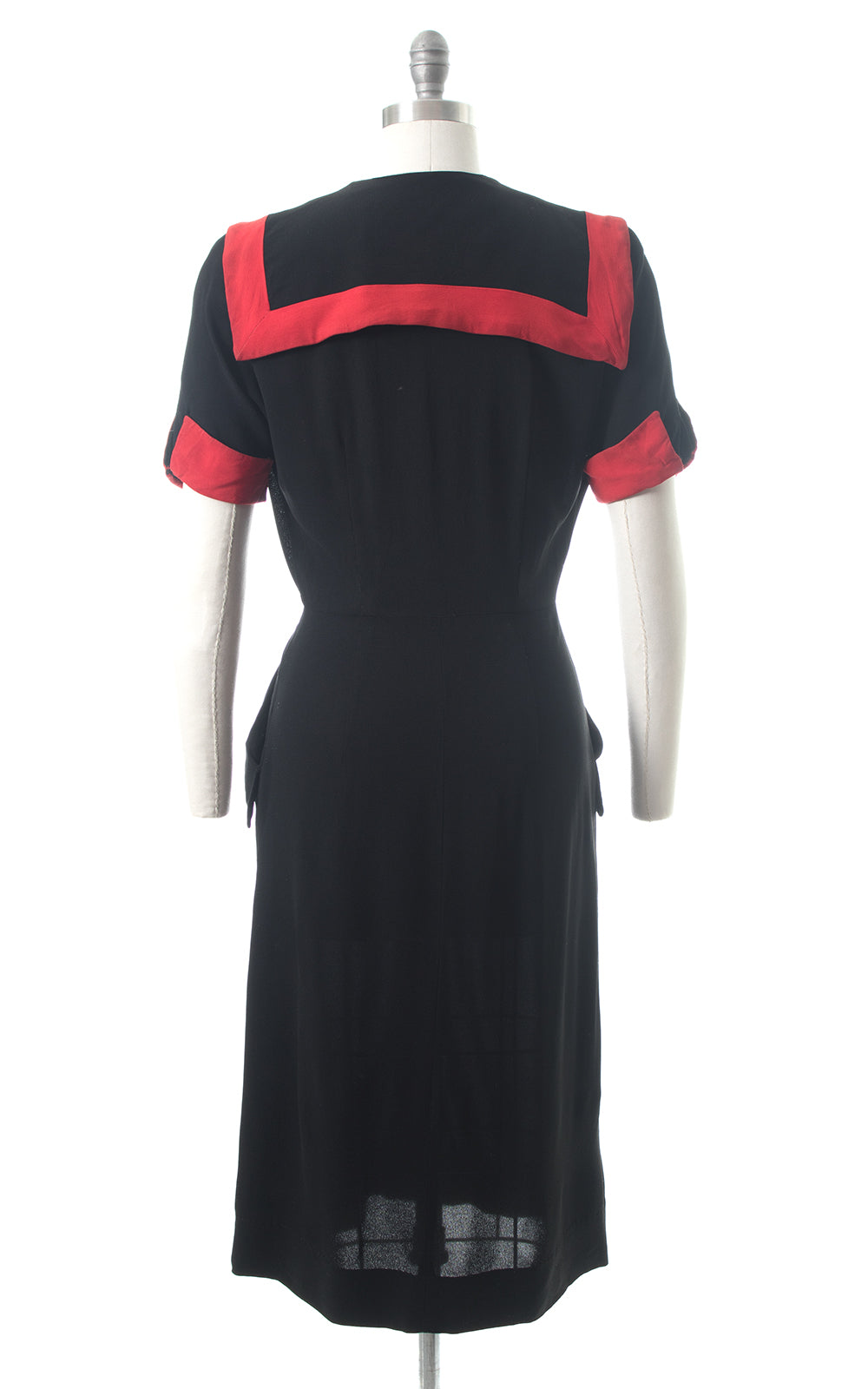 1940s Red Striped Sailor Collar Black Rayon Shirtwaist Dress