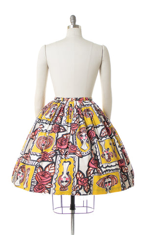 1960s Lady Faces & Roses Novelty Print Skirt
