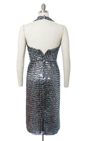 1970s Silver Sequin Halter Party Dress | small