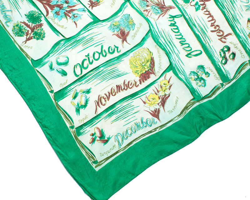 1940s 1950s Birthstone Flowers Birthday Silk Scarf BirthdayLifeVintage