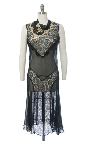 1920s Sheer Silk Chiffon & Lace Dress