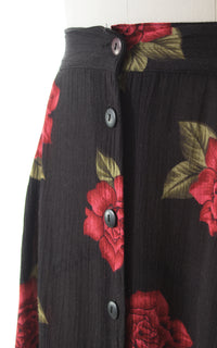 1990s Red Rose Button Up Midi Skirt BirthdayLifeVintage