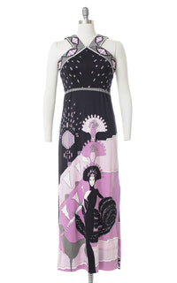 1960s Paganne Erte Art Deco Novelty Print Jersey Dress