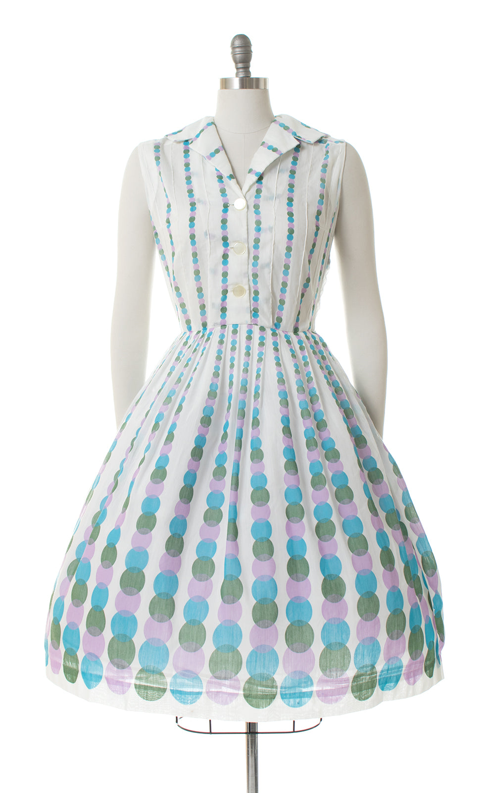 1950s Graduated Polka Dot Shirtwaist Sundress