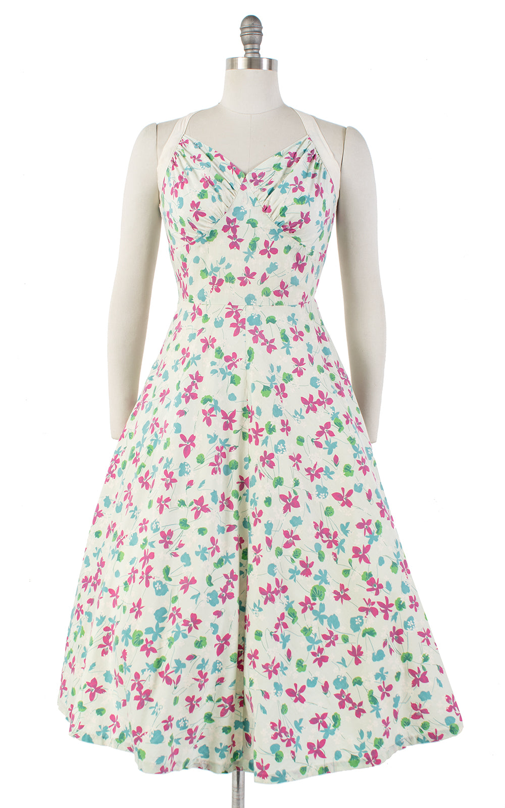 1950s Floral Halter Strap Cotton Sundress | small/medium
