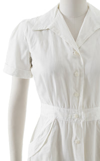 1940s White Cotton Shirtwaist Dress